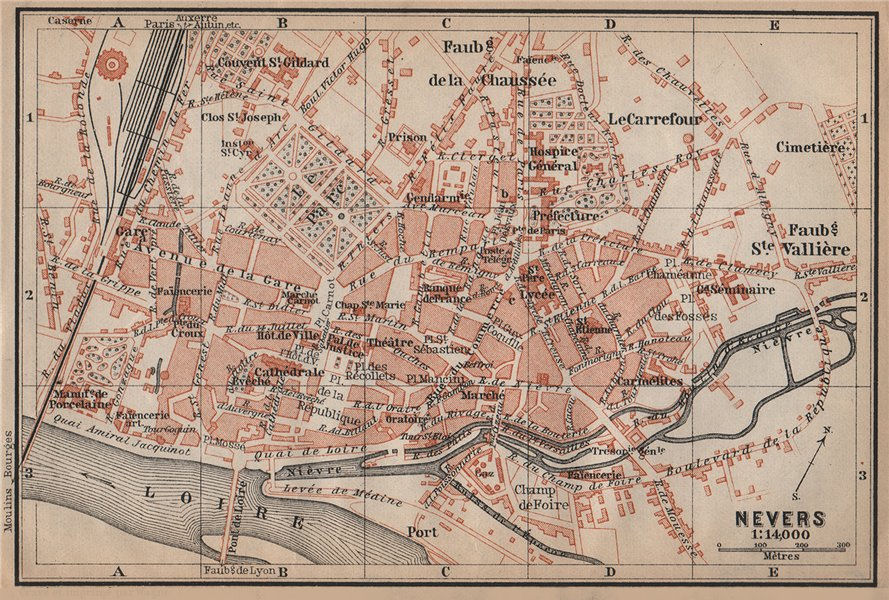 Associate Product NEVERS antique town city plan de la ville. Nièvre carte. BAEDEKER 1905 old map
