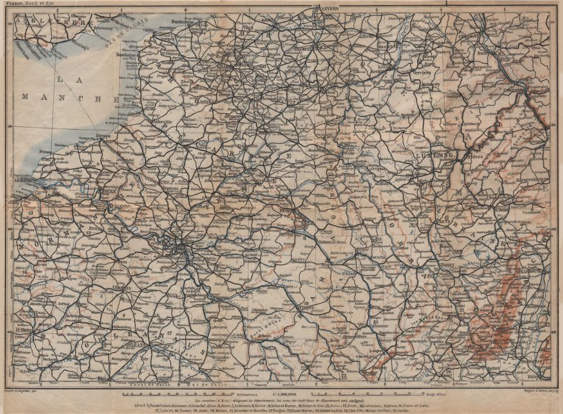 Associate Product NORTH-EASTERN FRANCE. Normandie Picardie Champagne Artois Lorraine 1909 map