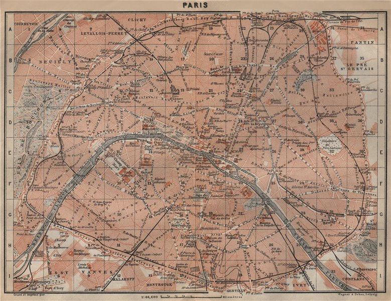 Associate Product PARIS town city plan de la ville showing city walls. Railways carte 1909 map