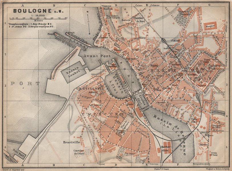 Associate Product BOULOGNE-SUR-MER town city plan de la ville. Pas-de-Calais carte 1909 old map