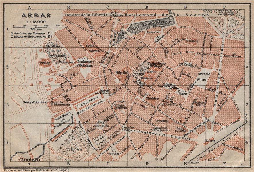 Associate Product ARRAS antique town city plan de la ville. Pas-de-Calais carte 1909 old map