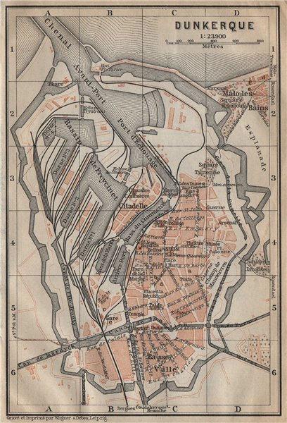 Associate Product DUNKIRK DUNKERQUE antique town city plan de la ville. Nord carte 1909 old map