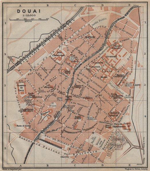 Associate Product DOUAI antique town city plan de la ville. Nord carte. BAEDEKER 1909 old map