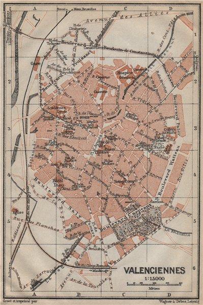 Associate Product VALENCIENNES antique town city plan de la ville. Nord carte. BAEDEKER 1909 map