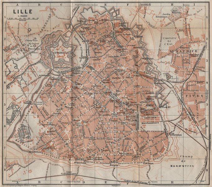Associate Product LILLE antique town city plan de la ville. Nord carte. BAEDEKER 1909 old map