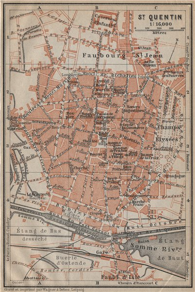 1909 Chalons-en-Champagne France Antique Map
