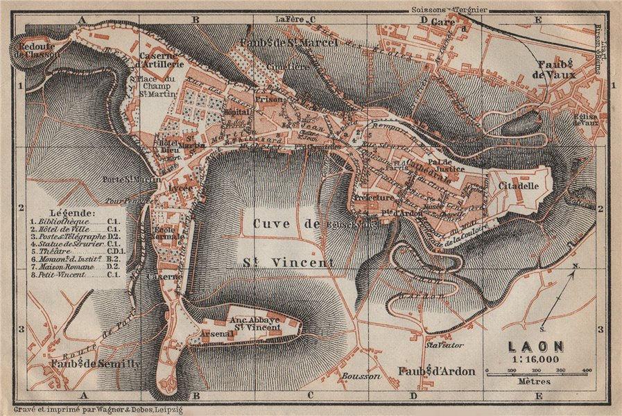 Associate Product LAON antique town city plan de la ville. Aisne carte. BAEDEKER 1909 old map