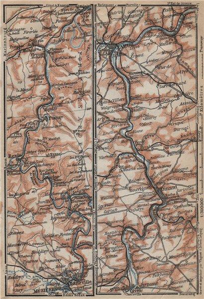 Associate Product MEUSE/MAAS river valley. Charleville-Mézières Namur Dinant carte 1909 old map