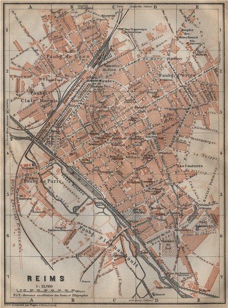 Associate Product REIMS antique town city plan de la ville. Marne carte. BAEDEKER 1909 old map