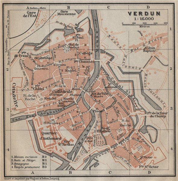 VERDUN antique town city plan de la ville. Meuse carte. BAEDEKER. SMALL 1909 map