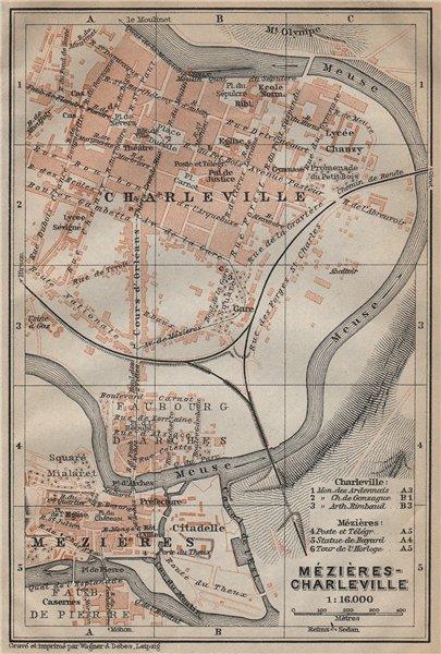 Associate Product CHARLEVILLE-MÉZIÈRES antique town city plan de la ville. France carte 1909 map