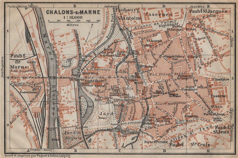 Associate Product CHALONS-EN-CHAMPAGNE town city plan de la ville. Châlons-sur-Marne 1909 map