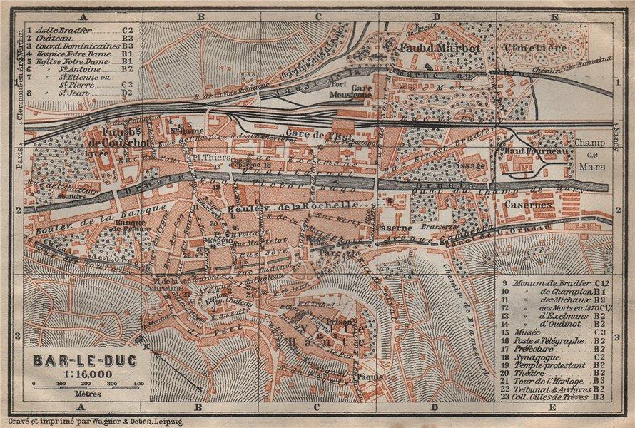 Associate Product BAR-LE-DUC antique town city plan de la ville. Meuse carte. BAEDEKER 1909 map
