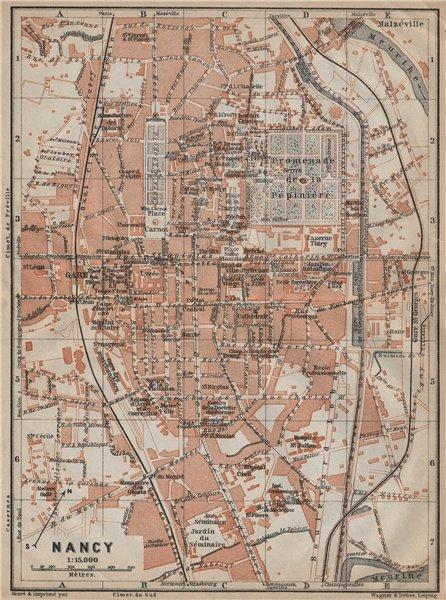 Associate Product NANCY antique town city plan de la ville. Meurthe-et-Moselle carte 1909 map