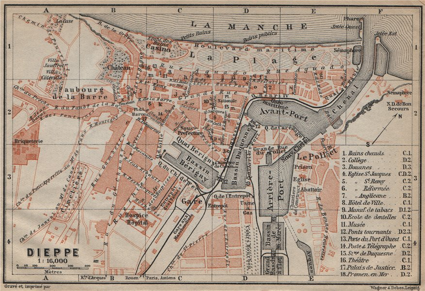 Associate Product DIEPPE antique town city plan de la ville. Seine-Maritime carte 1909 old map