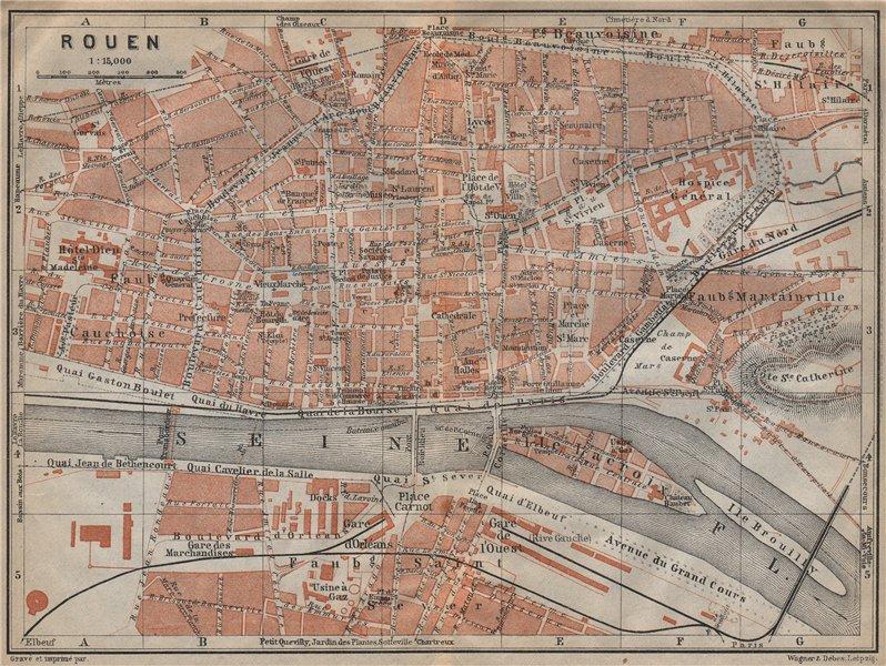 Associate Product ROUEN antique town city plan de la ville. Seine-Maritime carte 1909 old map