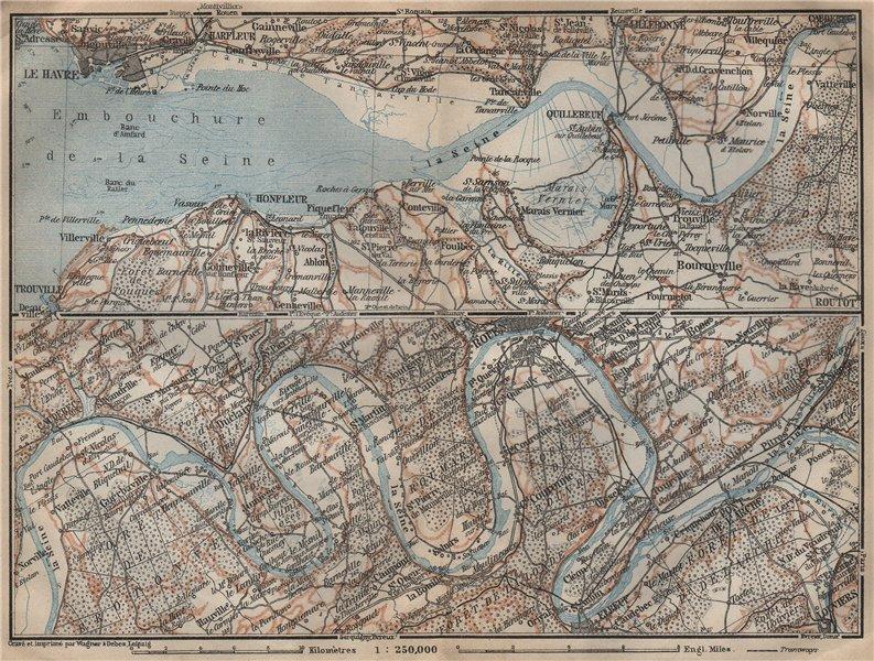 Associate Product LA SEINE. Pont de l'Arche-Rouen-Honfluer-Le Havre. Eure Seine-Maritime 1909 map