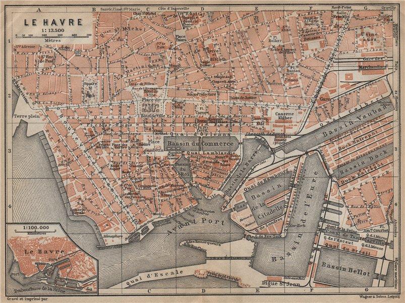 Associate Product LE HAVRE antique town city plan de la ville. Seine-Maritime carte 1909 old map