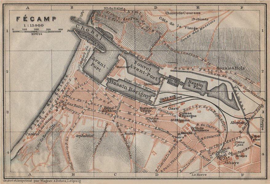 Associate Product FÉCAMP antique town city plan de la ville. Haute-Normandie carte 1909 old map