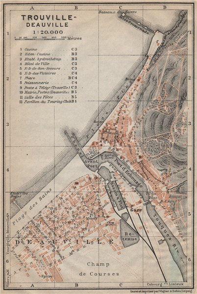 Associate Product TROUVILLE-DEAUVILLE antique town city plan de la ville. Calvados carte 1909 map