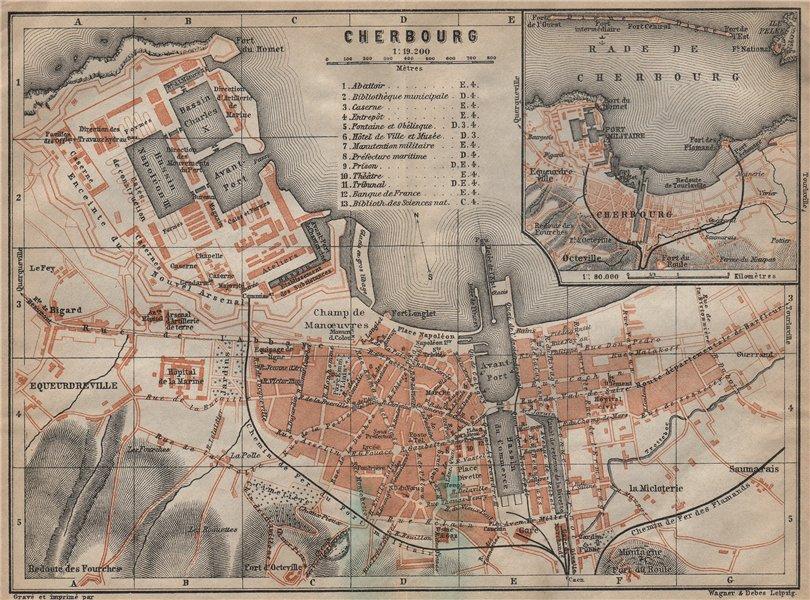 Associate Product CHERBOURG town city plan de la ville. Manche. Rade de Cherbourg carte 1909 map