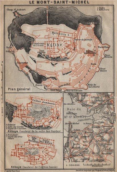 Associate Product MONT-SAINT-MICHEL. Abbaye Abbey & environs plan. Manche carte 1909 old map