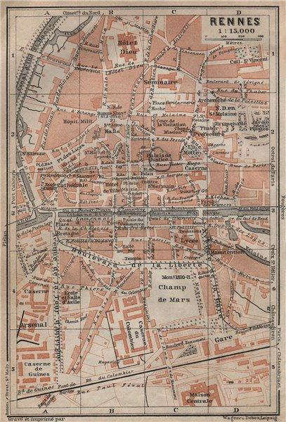 Associate Product RENNES antique town city plan de la ville. Ille-et-Vilaine carte 1909 old map