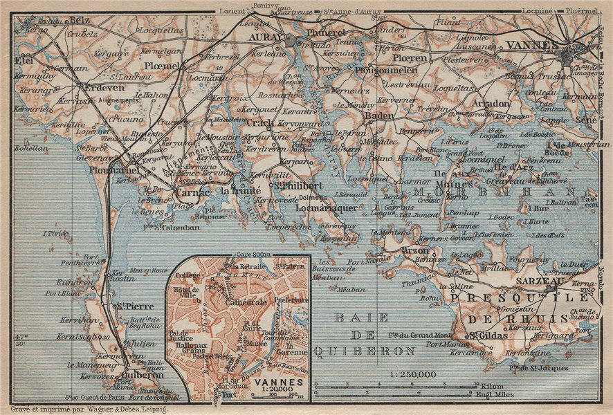 Associate Product CÔTE DES MEGALITHES. Vannes Baie de Quiberon Morbihan Auray Sarzeau 1909 map