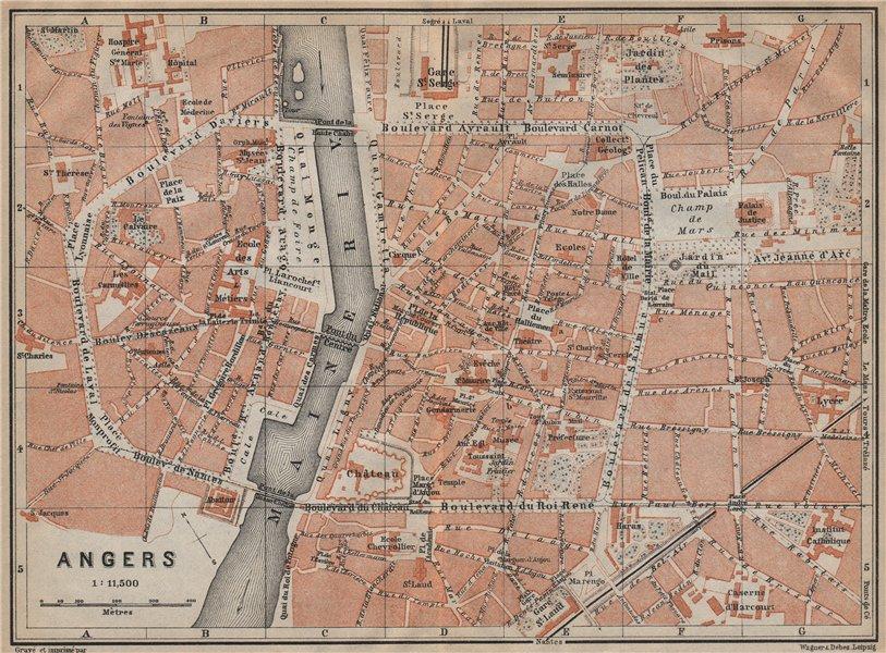 Associate Product ANGERS antique town city plan de la ville. Maine-et-Loire carte 1909 old map