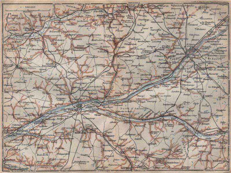 LOIRE VALLEY/CHATEAUX. Tours Blois Chinon Cher carte. BAEDEKER 1909 old map