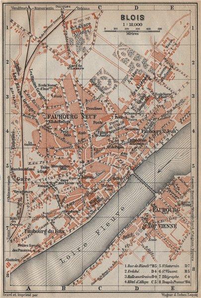 Associate Product BLOIS antique town city plan de la ville. Loir-et-Cher carte. BAEDEKER 1909 map