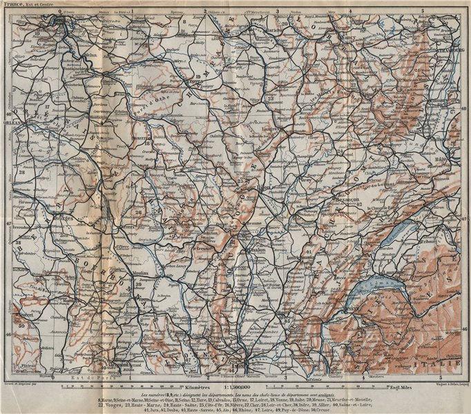 Associate Product EASTERN FRANCE Bourbonnais Nivernais Champagne Bourgogne Franche-Comté 1909 map
