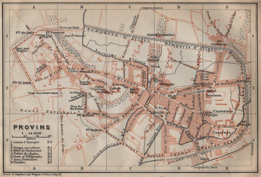 Associate Product PROVINS antique town city plan de la ville. Seine-et-Marne carte 1909 old map