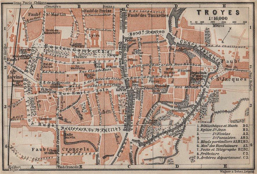 Associate Product TROYES antique town city plan de la ville. Aube carte. BAEDEKER 1909 old map
