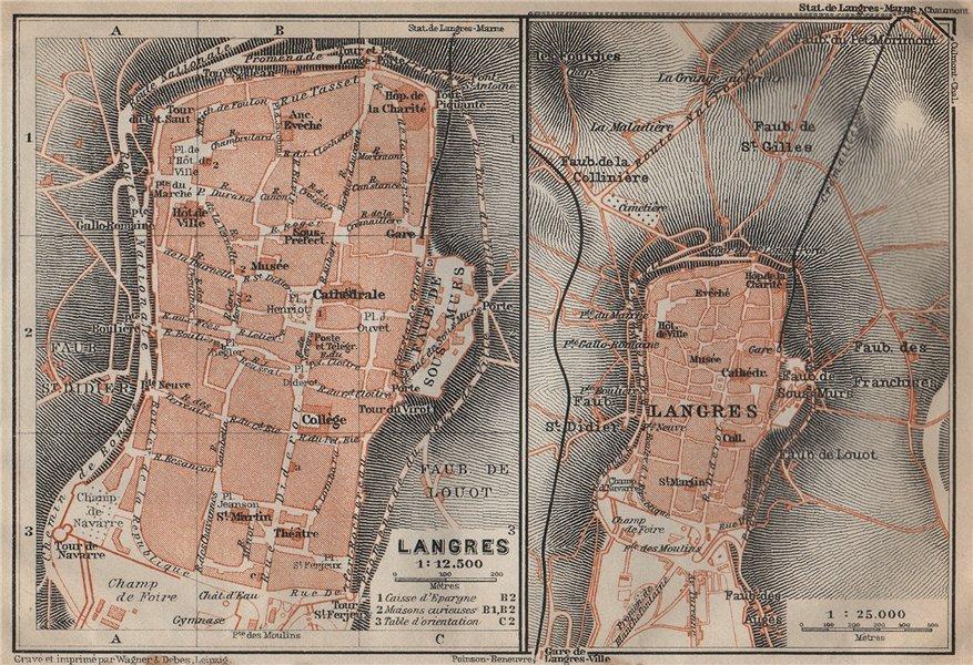 Associate Product LANGRES antique town city plan de la ville. Haute-Marne carte 1909 old map