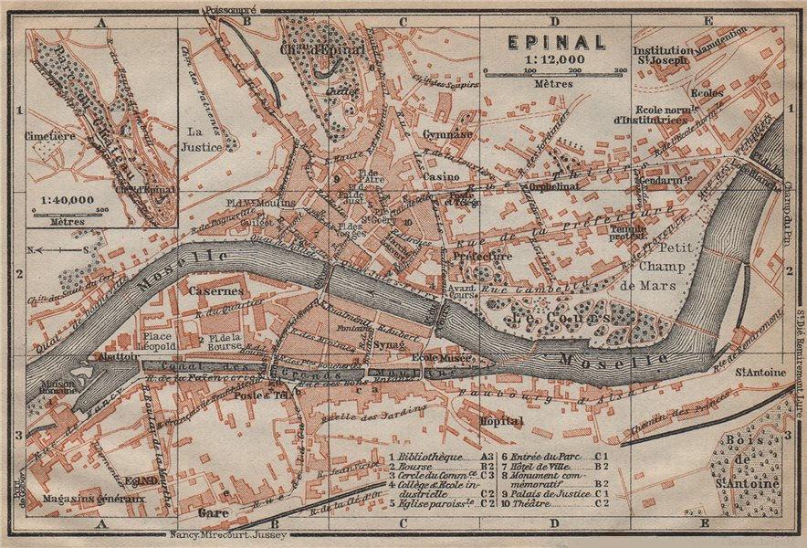 Associate Product EPINAL antique town city plan de la ville. Vosges. Épinal carte 1909 old map