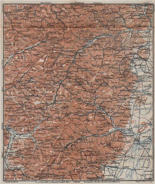 Associate Product CENTRAL VOSGES MASSIF. Selestat La Bruche Molsheim Bas-Rhin topo-map 1909