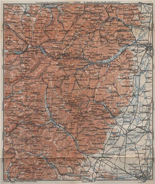 Associate Product SOUTHERN VOSGES MASSIF. Colmar Mulhouse Lac Blanc Gérardmer La Bresse 1909 map