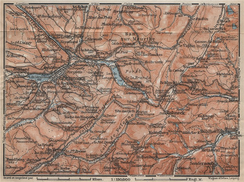 Associate Product GÉRARDMER environs. Hohneck La Bresse. Ballons des Vosges. Gerardmer 1909 map