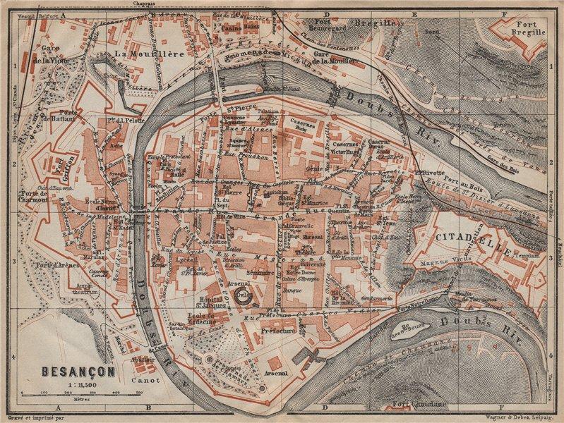 Associate Product BESANÇON antique town city plan de la ville. Doubs carte. BAEDEKER 1909 map