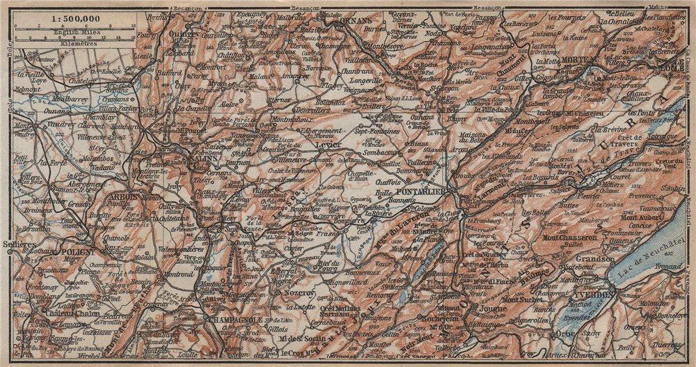 Associate Product FRENCH JURA (NORTH) Pontarlier Salins Champagnole Ornans Yverdon Doubs 1909 map