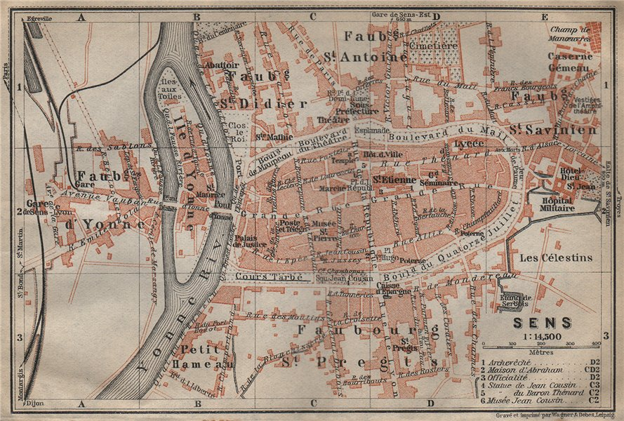 Associate Product SENS antique town city plan de la ville. Yonne carte. BAEDEKER 1909 old map