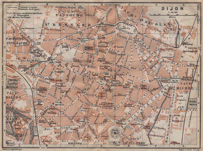 Associate Product DIJON antique town city plan de la ville. Côte-d'Or. Bourgogne carte 1909 map
