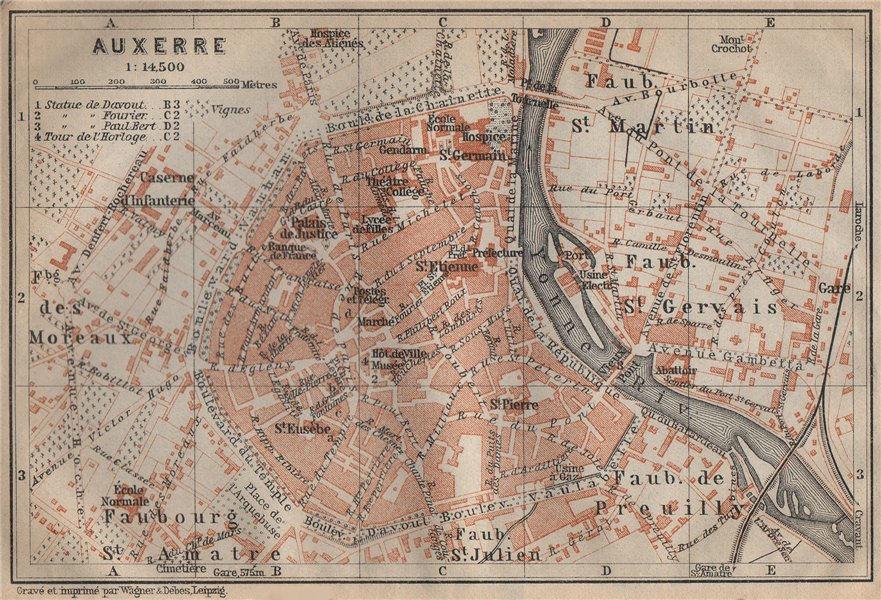 Associate Product AUXERRE antique town city plan de la ville. Yonne carte. BAEDEKER 1909 old map