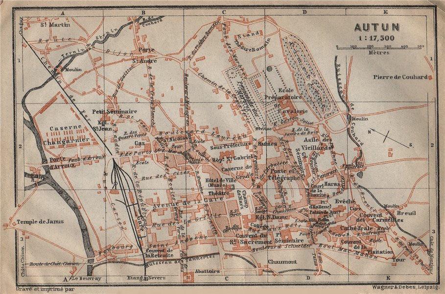 Associate Product AUTUN antique town city plan de la ville. Saône-et-Loire carte 1909 old map