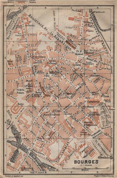 Associate Product BOURGES antique town city plan de la ville. Cher carte. BAEDEKER 1909 old map