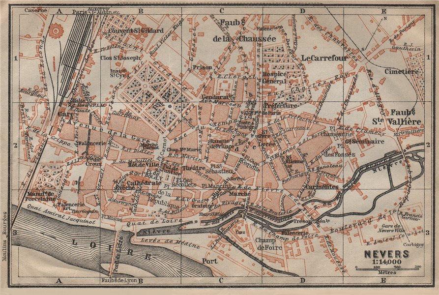 Associate Product NEVERS antique town city plan de la ville. Nièvre carte. BAEDEKER 1909 old map