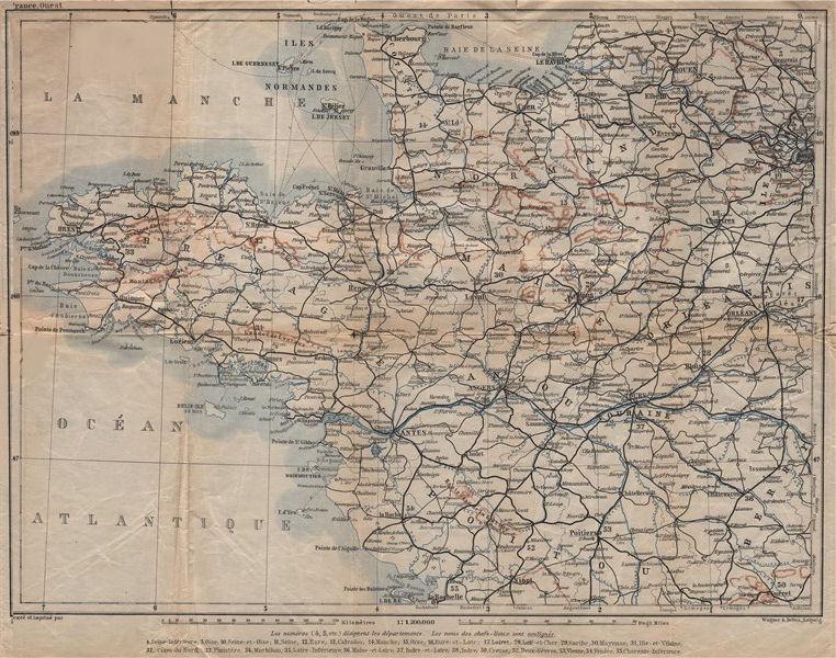 Associate Product NORTH-WESTERN FRANCE. Bretagne Maine Normandie Poitou Anjou Touraine 1909 map