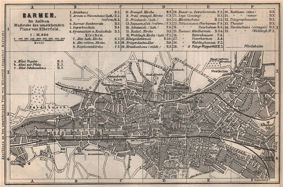 Associate Product BARMEN antique town city stadtplan. Germany karte. BAEDEKER 1886 old map