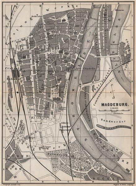 Associate Product MAGDEBURG antique town city stadtplan. Saxony-Anhalt karte. BAEDEKER 1886 map